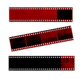 Film. Three isolated film strips royalty free stock images