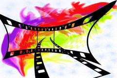Film. Colour illustration from a photo and video of a film Stock Photography