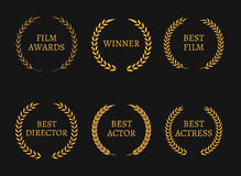 Film academy awards winners and best nominee gold wreaths on black background. Vector illustration Royalty Free Stock Photo