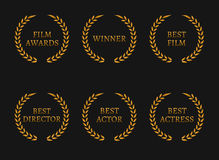 Film academy awards winners and best nominee gold wreaths on black background. Vector illustration Royalty Free Stock Images
