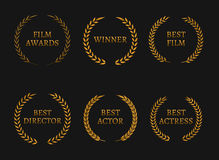Film academy awards winners and best nominee gold wreaths on black background. Vector illustration Stock Photos