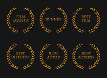 Film academy awards winners and best nominee gold wreaths on black background. Vector illustration Stock Images