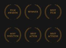 Film academy awards winners and best nominee gold wreaths on black background. Vector illustration Stock Image