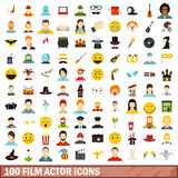 100 film actor icons set, flat style. 100 film actor icons set in flat style for any design vector illustration Royalty Free Stock Image