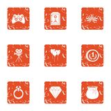 Film adaptation icons set, grunge style. Film adaptation icons set. Grunge set of 9 film adaptation vector icons for web isolated on white background Royalty Free Stock Image