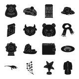 Film, animal, clothing and other web icon in black style. Film, animal, clothing and other  icon in black style.Scotland, computer, mountains icons in set Stock Photo