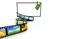Film around blank TV. Isolated on white Stock Photos
