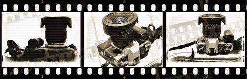 Film avec le vieil appareil-photo avec des textures Images libres de droits