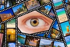 Film avec les photos et l'oeil de voyage Photographie stock