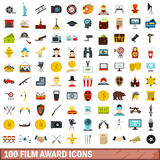 100 film award icons set, flat style. 100 film award icons set in flat style for any design vector illustration Stock Photography