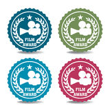 Film award stickers. Set of four film stickers  on a white background Stock Photos