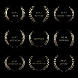 Film Awards, award wreaths on black background. Vector Film Awards, award wreaths on black background Stock Images