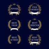 Best film award golden laurel emblem. Film awards and best nominee gold award wreaths on dark blue background. Isolated vintage winner elegant vector logo Royalty Free Stock Photography