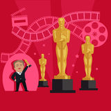 Film Awards Design Flat Banner Concept. Famous actor and director receives an award in the form of figurines in the film industry. Happy man holding a prize in Royalty Free Stock Photos