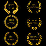 Film awards. Golden round laurel wreaths Royalty Free Stock Photo