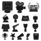 Film awards and prizes black icons in set collection for design. The World Film Academy vector symbol stock web. Film awards and prizes black icons in set Royalty Free Stock Photo