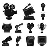 Film awards and prizes black icons in set collection for design. The World Film Academy vector symbol stock web. Film awards and prizes black icons in set Stock Image
