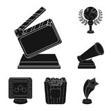 Film awards and prizes black icons in set collection for design. The World Film Academy vector symbol stock web. Film awards and prizes black icons in set Royalty Free Stock Image