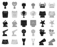 Film awards and prizes black,monochrome icons in set collection for design. The World Film Academy vector symbol stock. Illustration royalty free illustration