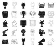 Film awards and prizes black,outline icons in set collection for design. The World Film Academy vector symbol stock web. Film awards and prizes black,outline vector illustration