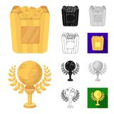 Film awards and prizes cartoon,black,flat,monochrome,outline icons in set collection for design. The World Film Academy. Vector symbol stock  illustration Stock Images