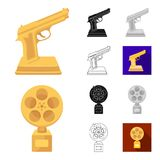 Film awards and prizes cartoon,black,flat,monochrome,outline icons in set collection for design. The World Film Academy. Vector symbol stock  illustration Royalty Free Stock Photos