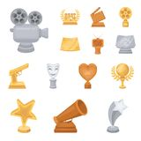Film awards and prizes cartoon icons in set collection for design. The World Film Academy vector symbol stock web. Film awards and prizes cartoon icons in set Royalty Free Stock Image