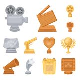 Film awards and prizes cartoon icons in set collection for design. The World Film Academy vector symbol stock web. Film awards and prizes cartoon icons in set Royalty Free Stock Photo