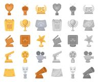 Film awards and prizes cartoon,mono icons in set collection for design. The World Film Academy vector symbol stock web. Film awards and prizes cartoon,mono icons vector illustration