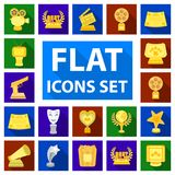 Film awards and prizes flat icons in set collection for design. The World Film Academy vector symbol stock web. Film awards and prizes flat icons in set Stock Image