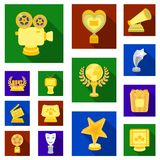 Film awards and prizes flat icons in set collection for design. The World Film Academy vector symbol stock web. Film awards and prizes flat icons in set Royalty Free Stock Photos