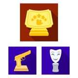 Film awards and prizes flat icons in set collection for design. The World Film Academy vector symbol stock web. Film awards and prizes flat icons in set Stock Photography