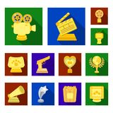 Film awards and prizes flat icons in set collection for design. The World Film Academy vector symbol stock web. Film awards and prizes flat icons in set Royalty Free Stock Images