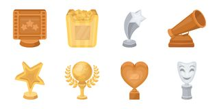 Film awards and prizes icons in set collection for design. Film awards and prizes icons in set collection for design. The World Film Academy vector symbol stock Royalty Free Stock Photos