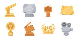 Film awards and prizes icons in set collection for design. The World Film Academy vector symbol stock web illustration. Film awards and prizes icons in set Royalty Free Stock Image