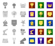 Film awards and prizes mono,flat icons in set collection for design. The World Film Academy vector symbol stock web. Film awards and prizes mono,flat icons in vector illustration