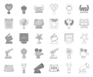 Film awards and prizes mono,outline icons in set collection for design. The World Film Academy vector symbol stock web. Film awards and prizes mono,outline icons vector illustration