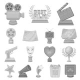 Film awards and prizes monochrome icons in set collection for design. The World Film Academy vector symbol stock web. Film awards and prizes monochrome icons in Stock Photos