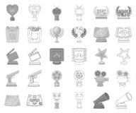 Film awards and prizes monochrome,outline icons in set collection for design. The World Film Academy vector symbol stock. Illustration royalty free illustration