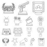 Film awards and prizes outline icons in set collection for design. The World Film Academy vector symbol stock web. Film awards and prizes outline icons in set Royalty Free Stock Photography