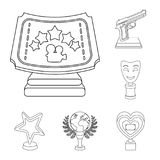 Film awards and prizes outline icons in set collection for design. The World Film Academy vector symbol stock web. Film awards and prizes outline icons in set Stock Photo