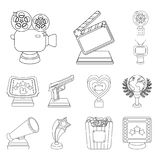 Film awards and prizes outline icons in set collection for design. The World Film Academy vector symbol stock web. Film awards and prizes outline icons in set Stock Photos