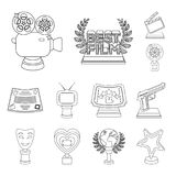 Film awards and prizes outline icons in set collection for design. The World Film Academy vector symbol stock web. Film awards and prizes outline icons in set Royalty Free Stock Images