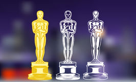 Film Awards. Set of black and white silhouette award. illustration. Award cinema black and white silhouette. illustration Royalty Free Stock Photography