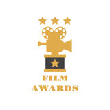 Film Awards vector emblem, label, badge and logo on white background. Film Award for the best film in the form of logo with camera. Movie Theater, Cinematic Royalty Free Stock Photography