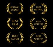 Film Awards. Vector Film Awards, gold award wreaths on black background Stock Image
