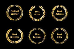 Film awards wreaths. Set. Element laurel, golden nominee, entertainment cinema. Vector illustration Royalty Free Stock Image