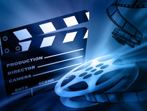 Film background. Reel of 35mm motion picture film Stock Photos