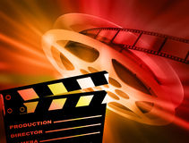 Film background. Reel of 35mm motion picture film Stock Image