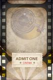 Film background. Vintage background - film strip on grunge background and cinema ticket Royalty Free Stock Photos